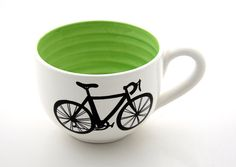 Bike Mug large for Soup or Coffee Lovers White with lime green Interior