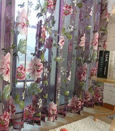 Home Textile Flower Embroidered Luxury Voile Curtains Fabric Tulle Sheer Curtains For Kitchen Bedroom Living Room Tulle Curtains, Sheer Drapes, Door Curtains, Lined Curtains, Curtains With Blinds, Kitchen Curtains, Curtain Door, Bedroom Drapes, Curtains Living