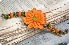 Summer Orange Gerbera bracelet - Orange and green flower bracelet - Polymer clay orange and olive bracelet - MAKE TO ORDER