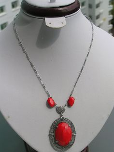 Vintage Jewelry Czech Art Deco Lipstick Red Glass Silver Filigree Necklace