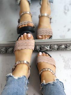 Shop Wave Lace Trim Single Strap Flat Sandals right now, get great deals at joyshoetique Sandals Outfit, Cute Sandals, Flat Sandals, Wedge Shoes, Shoes Sandals, Women Sandals, Gladiator Sandals, Leather Sandals, Slide Sandals
