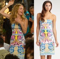 The Other Woman movie: Kate King's (Leslie Mann) strapless Roberto Cavalli Nausicaa Print Dress #getthelook #lesliemann #theotherwoman
