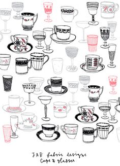 Cup of tea and glasses by Charlotte Farmer