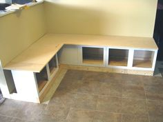 How to DIY a Banquette with cabinets..having a back is a good idea