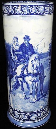 ANTIQUE DUTCH DELFT POTTERY BLUE WHITE FRISIAN HORSE UMBRELLA VASE.