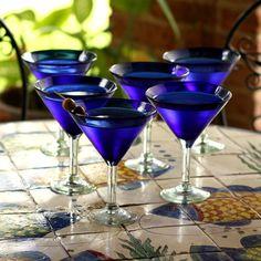 Handmade Set of 6 'Sapphire Blue' Martini Glasses (Mexico), Blue, Novica Cobalt Glass, Cobalt Blue, Wine Glass Set, Glass Bottles, Drinking Glass, Hand Blown Glass, Martini, Blue Sapphire, Bubbles