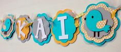 Birdie Name or It's A Girl or Boy  Banner Turquoise, Gray, and Yellow Polka Dot Bird Baby Shower Girl Shabby Chic Birthday Party Decorations, via Etsy.