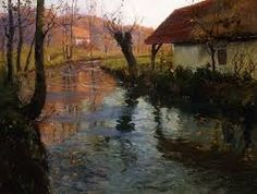 Fritz Thaulow - The Mill Stream Painting