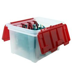 This Storage Container Features Four Plastic Spools That Fit Neatly Into Slots To Wind Christmas String Lights Garland And Extension Cords