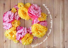 tissue flower wreath tutorial