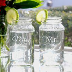 Mr. & Mrs. 26oz. Ball Jar Set.