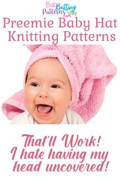 Preemie Hats Knitting Patterns- Special For Your Little One Baby Hat Knitting Patterns Free, Baby Hat Patterns, Baby Hats Knitting, Knitted Hats, Free Knitting, Crochet Hats, Newborn Knit Hat, Newborn Hats, Newborns
