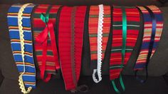 Belts made out of Finnish folk costume materials, recycled jeans and lace/silk ribbons. Lace Silk, Silk Ribbon, Folk Costume, Costumes, Recycle Jeans, Finland, Making Out, Ribbons, Belts