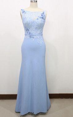 Trumpet Mermaid Light Sky Blue Lace Tulle Flowers Sweep Train Long Prom Dress