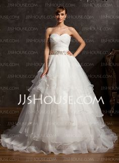 Ball-Gown Sweetheart Chapel Train Organza Wedding Dress With Ruffle Lace Sashes Sequins (002015163)
