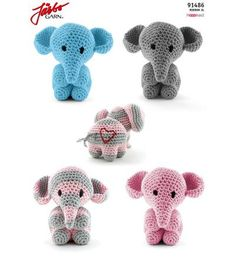 Amigurumi Elefant - Crochet and Knit - Leads For Amigurumi Crochet Elephant Pattern, Crochet Animal Patterns, Baby Knitting Patterns, Crochet Animals, Crochet For Kids, Diy Crochet, Crochet Crafts, Crochet Baby, Crochet Projects