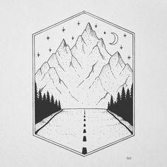 Ideas for design product illustrations Tumblr Drawings, Pencil Art Drawings, Doodle Drawings, Art Drawings Sketches, Doodle Art, Easy Drawings, Line Paper Drawings, Road Drawing, Mountain Drawing