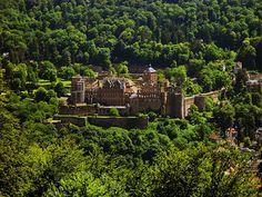 Heidelberg Castle, above Neckar River in Germany