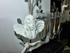 """Suspension tête d'angelot ailé blanc à suspendre à l'aide d""""un cordelette, déco charme"""