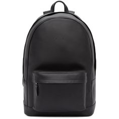 Pb 0110 Black Leather Backpack ($660) ❤ liked on Polyvore featuring bags, backpacks, leather knapsack, leather backpack, handle backpack, zipper backpack and leather rucksack