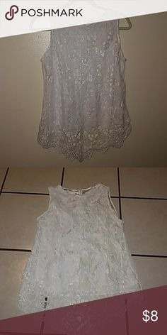 Off white lace front top NWOT top,No brand name. Never worn. Tops Blouses