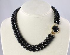 Vintage Black Jet glass bib Necklace 1960s jewelry /35