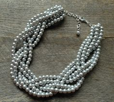 Grey Statement Pearl Necklace Six Strand by haileyallendesigns