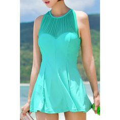 Sexy Women's Jewel Neck Cut Out Ruffled One-Piece Swimsuit (LIGHT GREEN,XL) in One-Pieces | DressLily.com