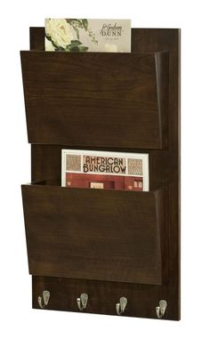 Amish Hardwood Wall Mounted File Holder Or Magazine Rack