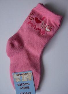 "Wunderschöne Baby-Söckchen rosa Gr 92-98 "" I love Mama"" Apollo"