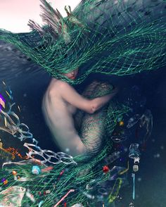 """yuumei-art: """" -Forever- My latest piece about plastic pollution in the ocean. I hope that humanity can come together and learn to protect our forever home. Ocean Pollution, Plastic Pollution, Yuumei Art, Fisheye Placebo, Environmentalist, 3d Background, Tomorrow Will Be Better, Manga, Comic Artist"""