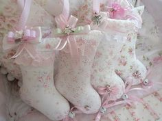 Beautiful shabby mini Christmas stocking ornaments by Our Shabby Cottage, via Flickr