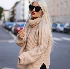 Fashion blogger knitted sweater