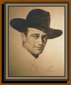 John Wayne  by Nicholas Volpa  circa 1940? What a fabulous piece of Americana. Besides being a great painting of John Wayne in his prime, this was the actual painting that hung in the Brown Derby Restaurant in Hollywood for many, many years. The Brown Derby, Hollywood's famous restaurant of the stars, had art of many stars on its walls, but this is one of the most important. Purchased at a Howard Lowery Auction in Burbank, California in 1994.  Charcoal and conte crayon on paper; original…
