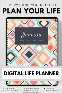 Stay organized month after month with this digital planner for iPads, tablets, Goodnotes, Notability, Noteshelf and other annotation apps Goals Planner, Planner Pages, Printable Planner, All About Vision, Evening Meditation, Need Motivation, Goal Planning, Practice Gratitude, Ipads