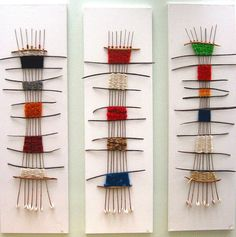 Little art pieces, simple and unique. A good way to get ideas out a… Soulweaving. Little art pieces, simple and unique. A good way to get ideas out and they are useful too as you could put them up or sell them Paper Weaving, Weaving Textiles, Weaving Art, Tapestry Weaving, Loom Weaving, Hand Weaving, Wall Tapestry, Diy Tricot Crochet, Textile Fiber Art