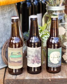 So crafty--the groom made all of the beer for this wedding and the bride designed the labels! #marthastewartweddings