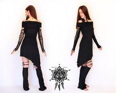 Gothic dress. Braided goth dress. Cowl neck dress, fantasy dress, Pixie dress, industrial clothing, cyber goth