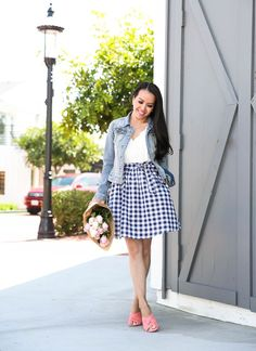 Spring outfit idea - gingham skirt scalloped cami, pink mule sandals