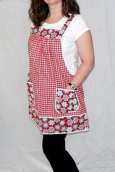 Red Gingham & Aqua Floral Pinafore Apron with no ties, relaxed fit smock with pockets, last one handmade to or Pinafore Apron, Sewing Aprons, Apron Pockets, Red Gingham, Fabric Crafts, Smocking, Fabric Design, Sewing Patterns, Dress Patterns
