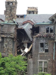 Halcyon Hall, as derelict Bennett College in Millbrook, NY, once was called. It is a fantastical structure built at ruinous expense by a local hilltopper named Harry Davison. The hotel opened in the early 1890s, was bankrupt by 1903, and sold in 1907 to May Bennett, founder of the college. Through a combination of bad luck and bad planning - in particular, the construction of a heavily financed new science building - the college went bankrupt in 1978.