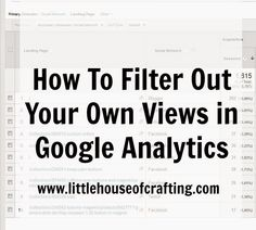 How to filter your own views out of Google Analytics Report, New Inventions, Free Market, Marketing Jobs, Business Tips, Filters, Crafting, Tools, House