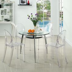 Modway Casper Dining Side Chair in Clear