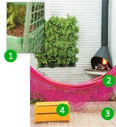 rede, jardim vertical e apoio de caixote