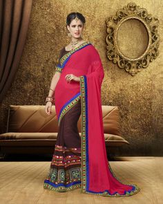 Buy Brown Devika Georgette Designer Pallu with embroidered border at happydeal18.com, India's biggest shopping store