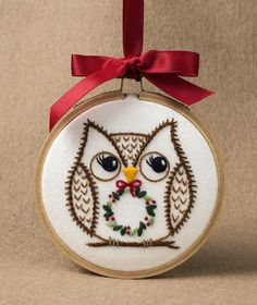 """Christmas owl embroidered ornament. Pattern adapted from """"Sew Jenaissance"""" 2017. Ornament for EGA-CyberStitchers Christmas auction."""