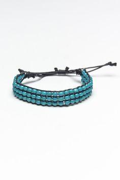 Grain Turquoise Beaded Black Leather Band Bracelet