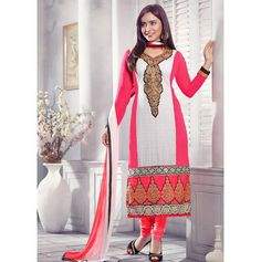 Fabric :- Georgette Shantoon & Nazneen with embroidery #DesignerSuit  Price :- Rs. 1295/-  Design No. : Sb-3890-1376  Product Page :- http://www.unnatiexports.com/design/closeup/women-party-wear-suits-a-1064-b-4.html
