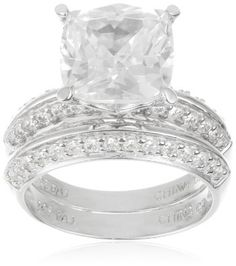 Platinum Plated Sterling Silver Diamond Simulant Bridal Set with Matching Wedding Ring Matching Wedding Rings, Diamond Wedding Rings, Wedding Bands, Diamond Simulant, Platinum Ring, Bridal Sets, Silver Diamonds, Sterling Silver Jewelry, Plating