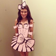 "Paper Doll | 33 Halloween Costumes That'll Make You Say ""Why Didn't I Think Of…"